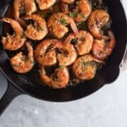 Overhead on the delicious New Orleans BBQ Shrimp in a pan ready to be served