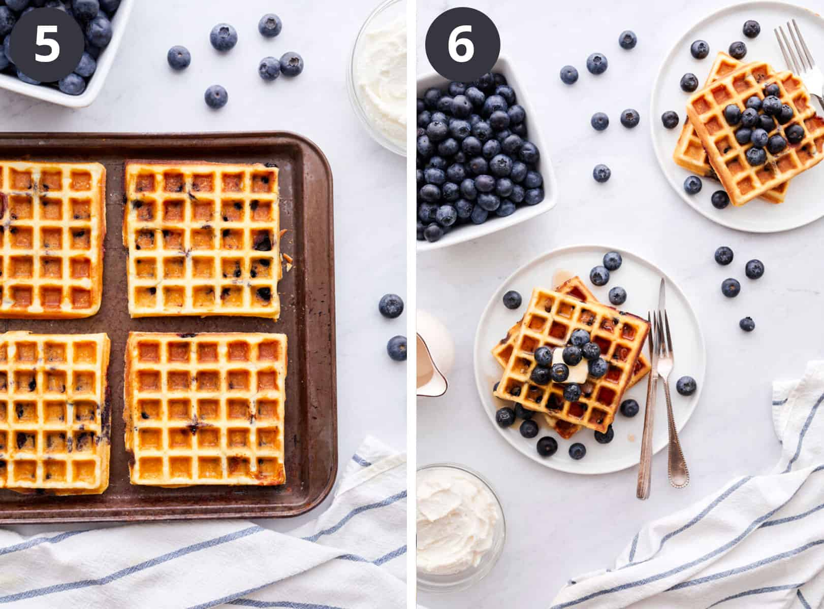 The fifth and the sixth cooking steps of making the waffles