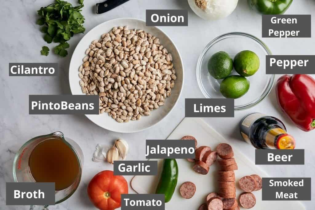 Overhead of the Slow Cooker Charro Beans ingredients