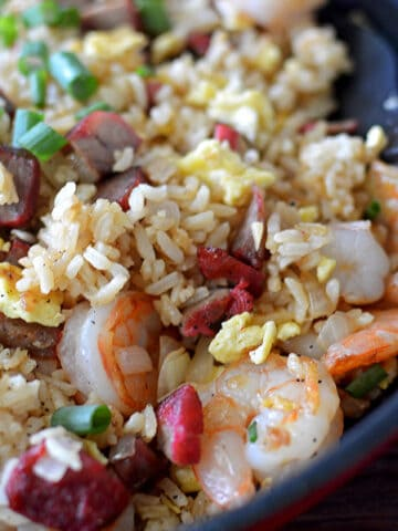 Closeup of the delicious Hawaiian Island Style Fried Rice served in a pan