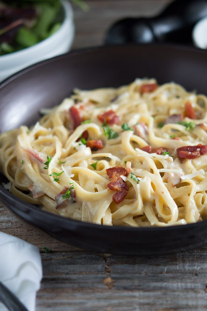 Pasta made with Asiago Sauce and Pancetta looking extra creamy and delicious