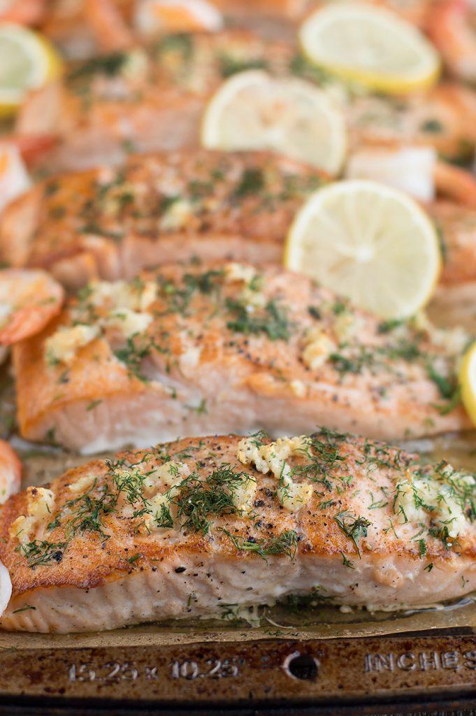 Seared Salmon and Shrimp with Creamy Dijon Dill Sauce