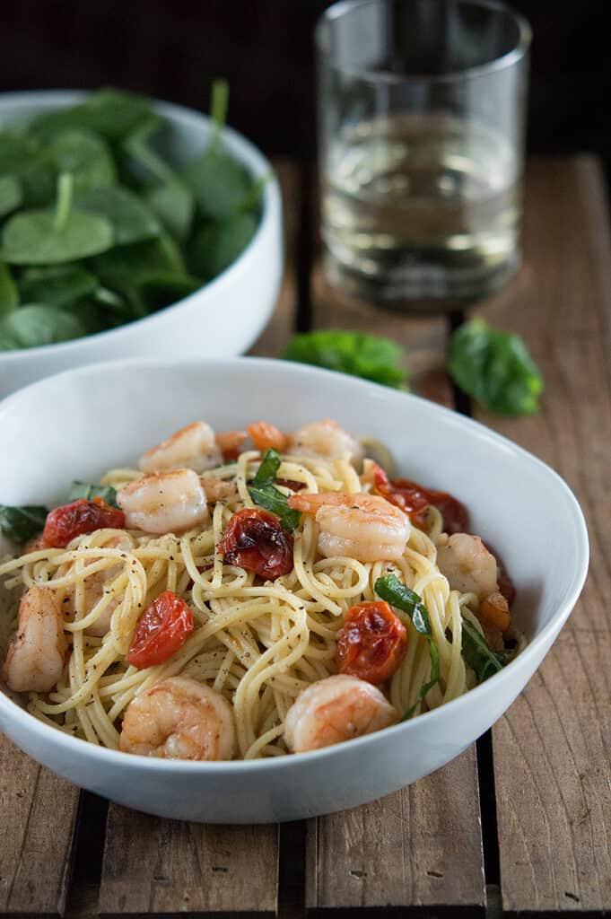 Shrimp and Roasted Tomato Pasta with Garlic Wine Sauce dsc_0538