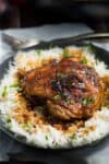 Crispy One Pan Honey Garlic Ethiopian Berbere Chicken Thighs served with rice