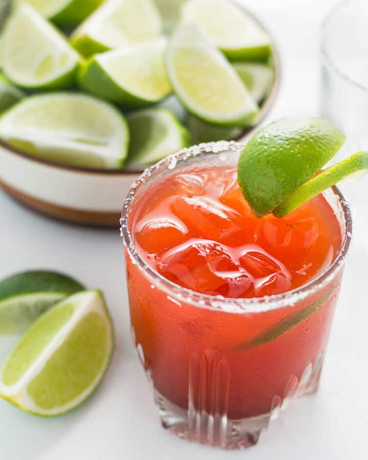 These Hawaiian Li Hing Mui Margaritas are a Hawaiian favorite. It's a spin on the classic margarita! This recipe will allow you to have the traditional margarita or the popular Li Hing Mui Margarita either way.