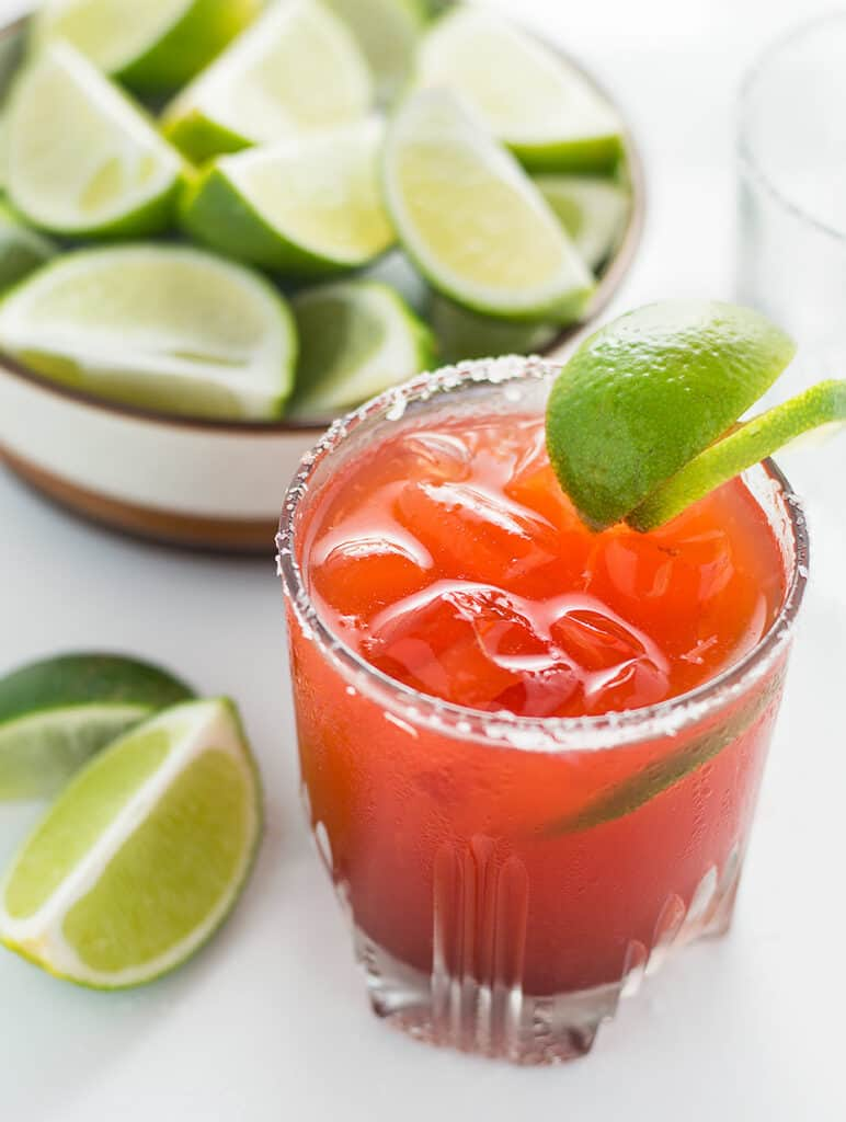 These Hawaiian Li Hing Mui Margaritas are a Hawaiian favorite. It's a spin on the classic margarita! This recipe will allow you to have the traditional margarita or the popular Li Hing Mui Margarita either way. DSC_0701