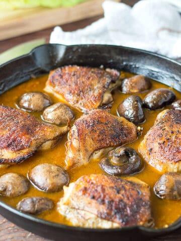 Easy One Pan Golden Mushroom Chicken