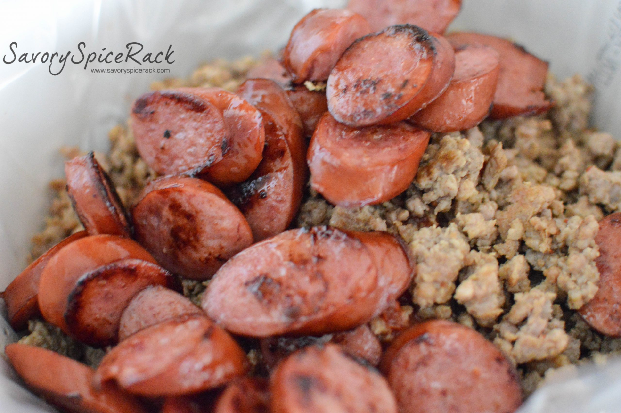 Delicious sausages mixed with kalua pig