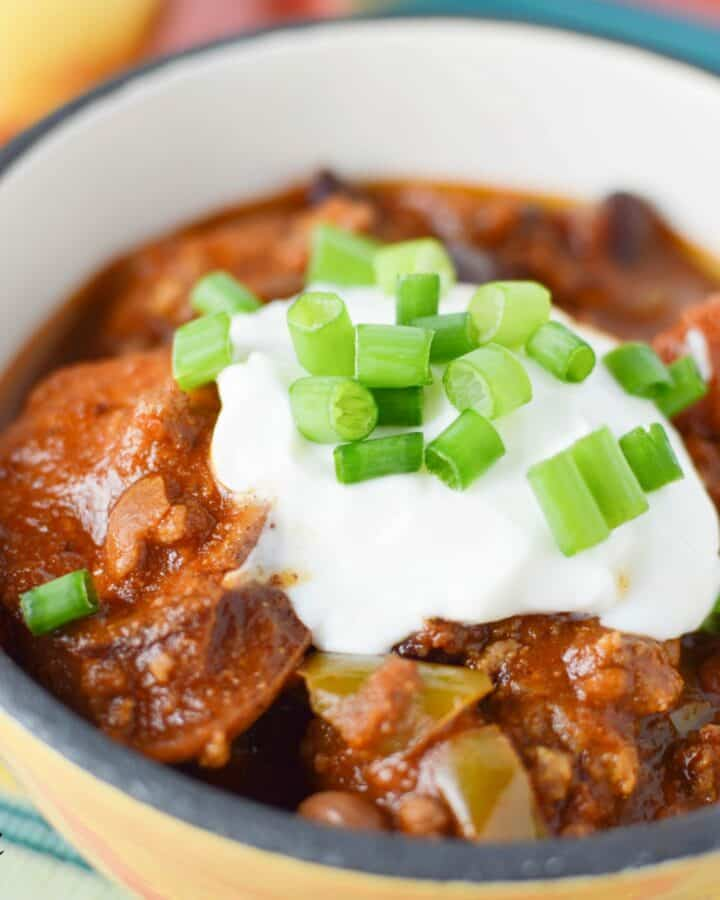 Closeup on the delicious Easy Slow Cooker Chili Beans served in a big bowl