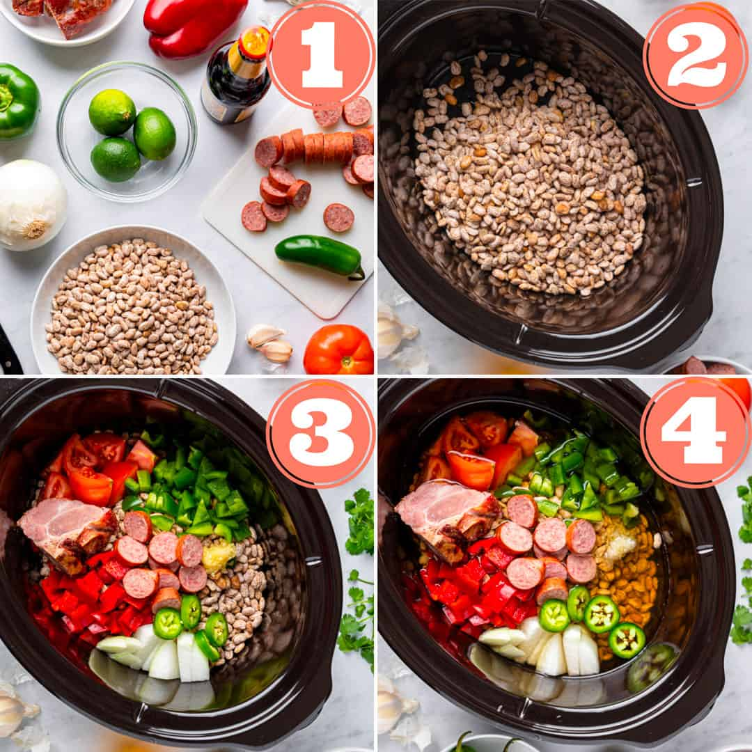 Four steps to make Easy Slow Cooker Charro Beans