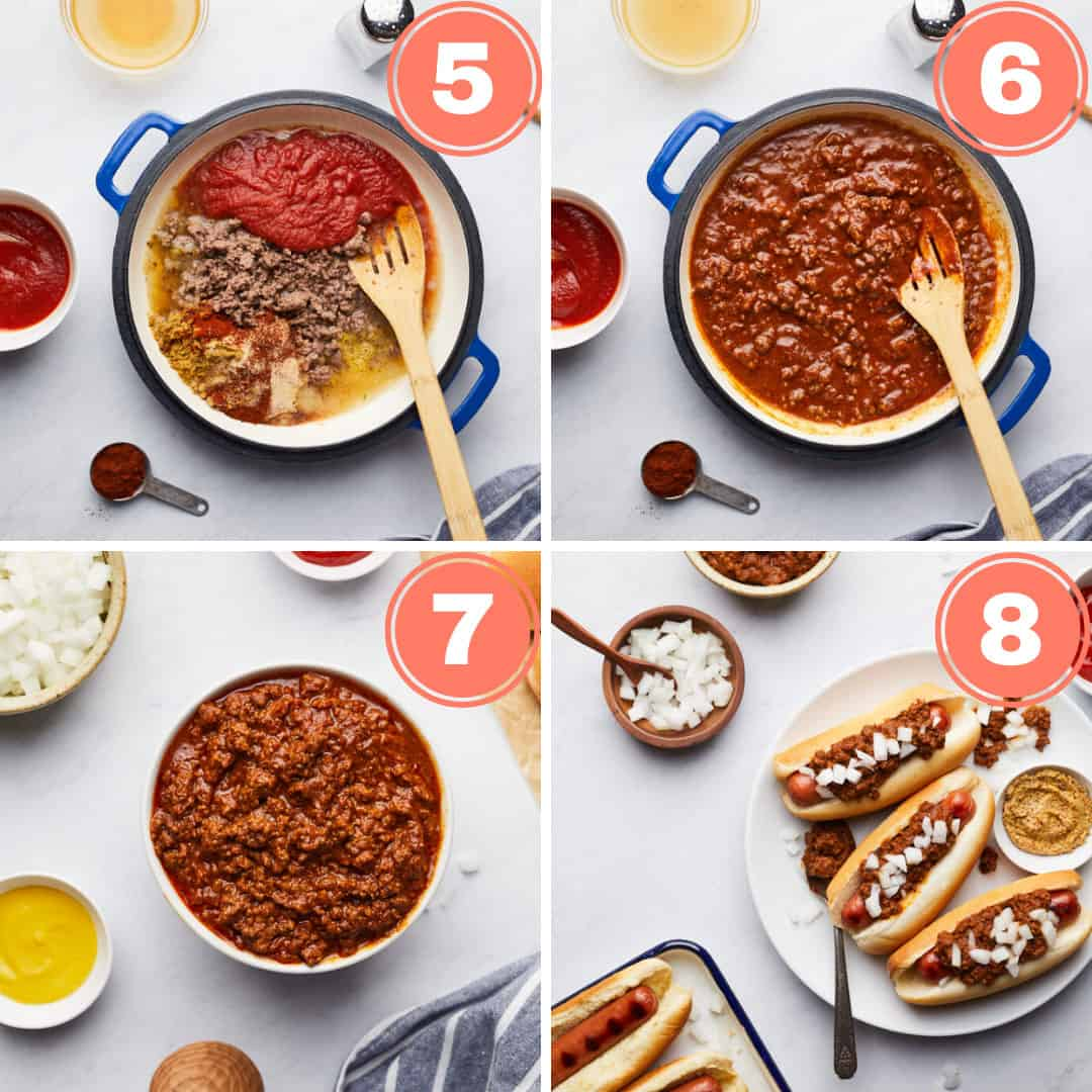 Four last steps of making the recipe and serving the dish in hot dogs