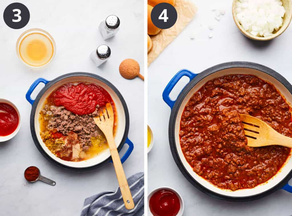 Homemade Hot Dog Chili Last Two Steps