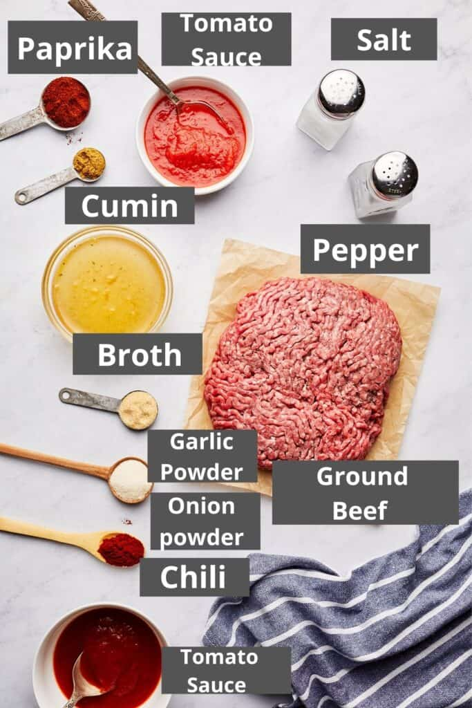 Homemade Hot Dog Chili labelled ingredients