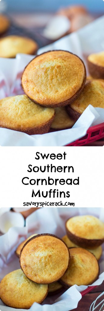 Sweet Southern Cornbread Muffins. A sweet, buttery, cake type cornbread that's also not difficult to make.