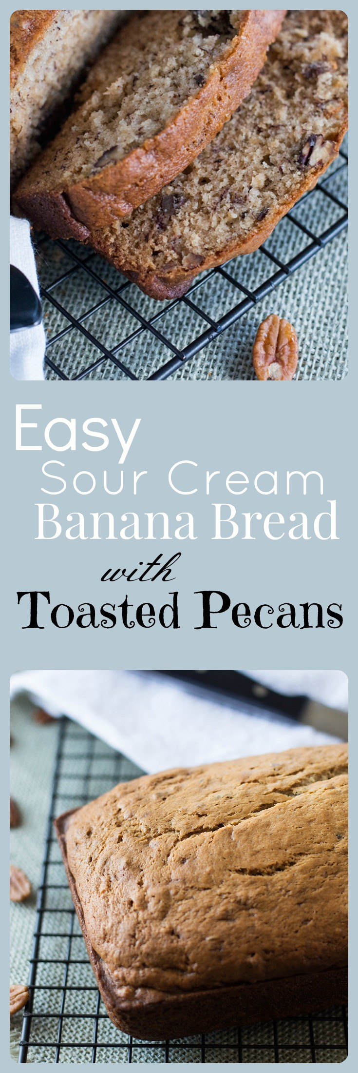 Easy to make moist and lightly sweetened sour cream banana bread with toasted pecans made with pure can sugar, and organic flour.
