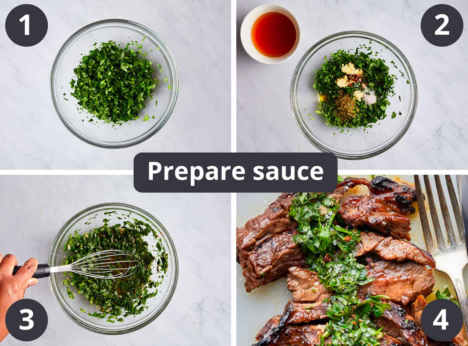 Preparing sauce collage of four images showing each step in details