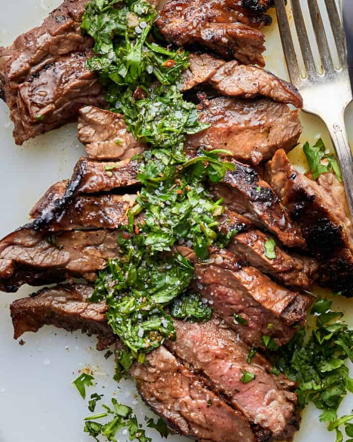 Overhead of the juicy Brazilian Steak with Chimichurri Sauce