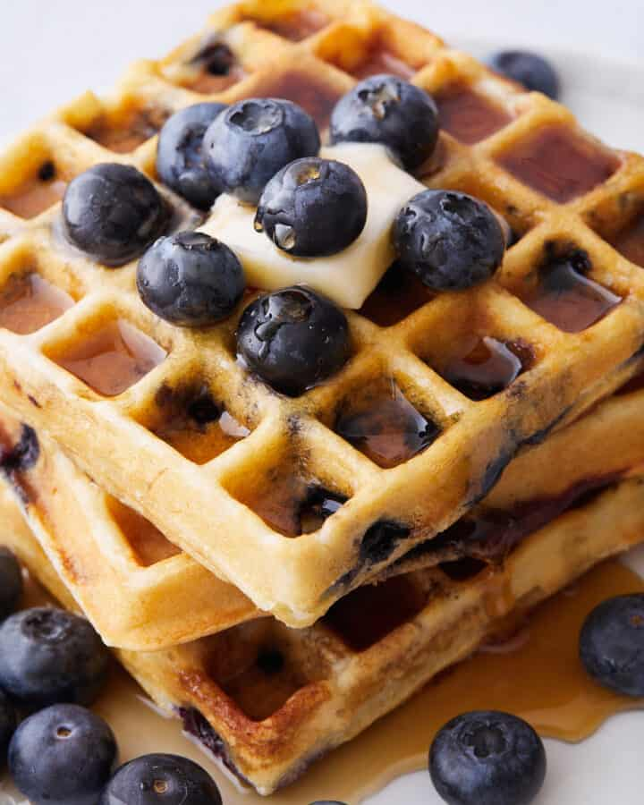 Closeup of the delicious Blueberry Ricotta Waffles served to the table