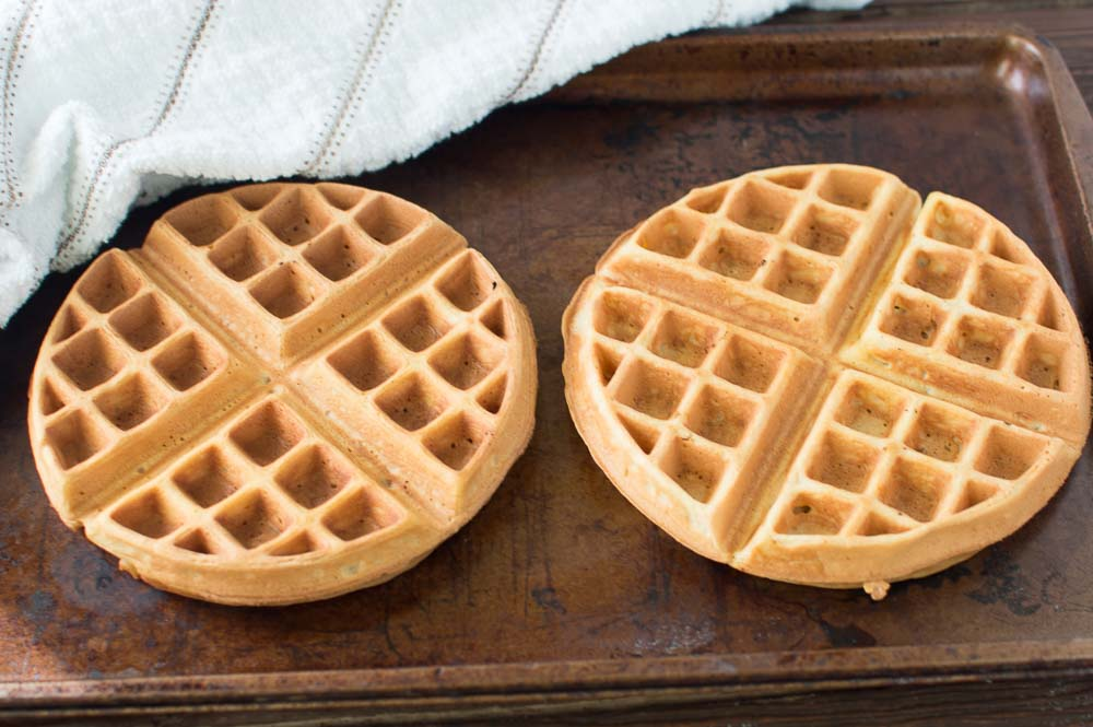 Two delicious waffles ready on a tray