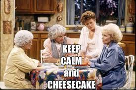 Four ladies at the table eating a cheesecake