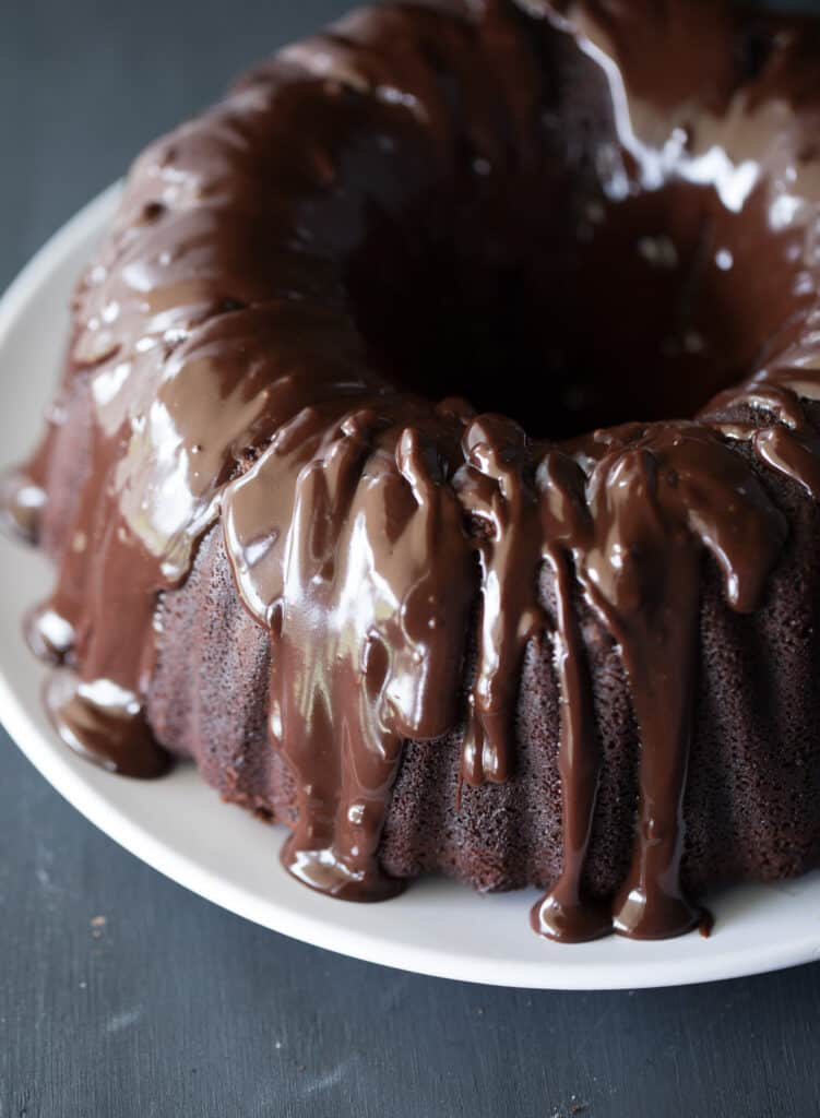 Closeup on the incredibly delicious and Super Moist Chocolate Cake
