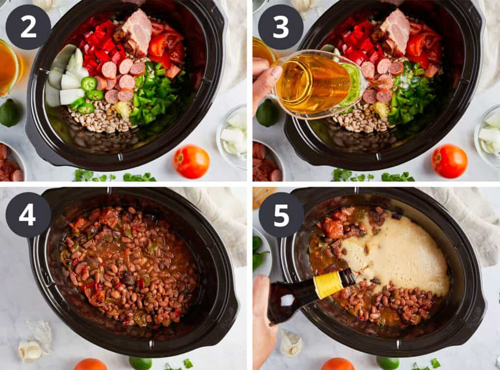 Four cooking steps of making easy Slow Cooker Charro Beans recipe