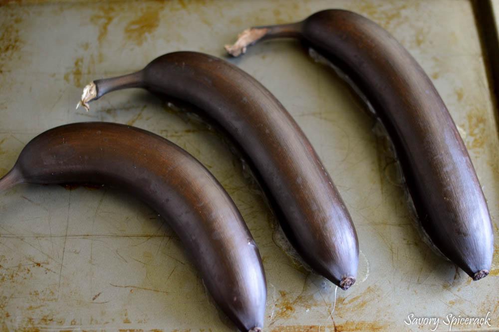 Three overripe bananas on a tray