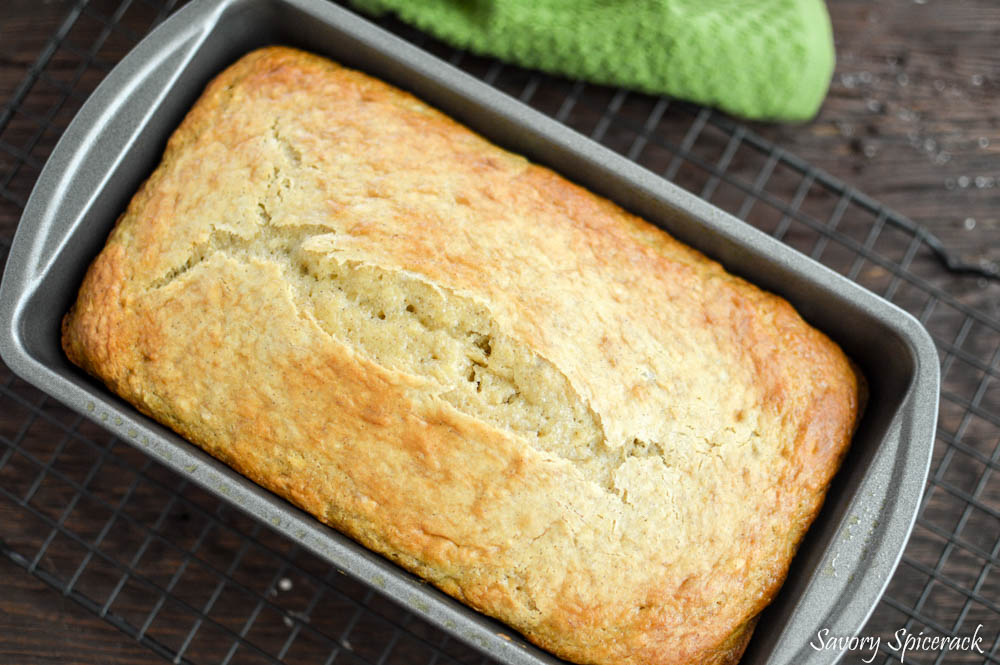 Easy Banana Bread Cake in a pan straight out of the oven