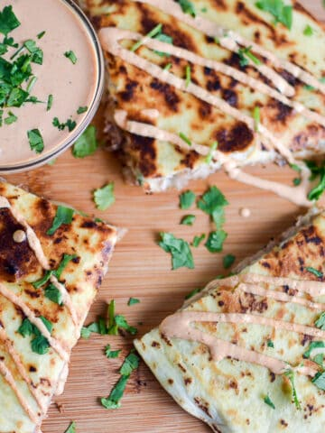 Overhead on the delicious Kalua Pig Pulled Pork Quesadilla with Chipotle Cream Sauce