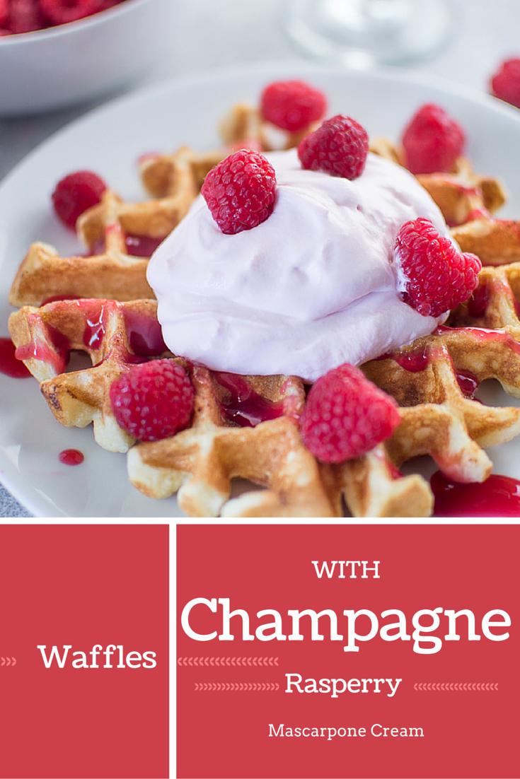 wafles with raspberry champagne mascarpone cream